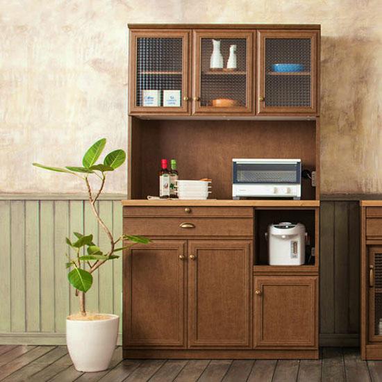 ユーアイ クリチコ フレンチカントリー調 食器棚 キッチンボード 木目ブラウン K-105HOP