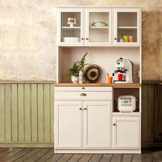 ユーアイ クリチコ フレンチカントリー調 食器棚 キッチンボード 木目ホワイト K-105HOP