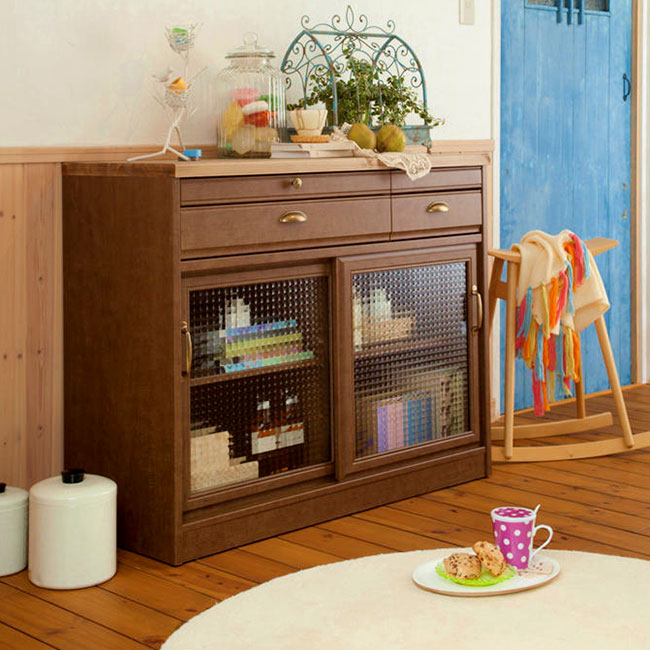 ユーアイ クリチコ フレンチカントリー調 食器棚 キッチンボード 木目ブラウン K-105L