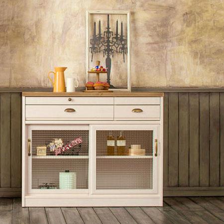 ユーアイ クリチコ フレンチカントリー調 食器棚 キッチンボード 木目ホワイト K-105L