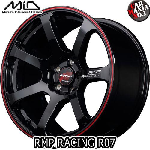(4本セット) 18×7.5J +50 5/100 MARUKA(マルカ) MID RMP RACING R07 カラー:ブラック/リム レッドライン 18インチ 5穴 P.C.D100 ホイール新品4本 鋳造1ピースホイール RMPレーシング