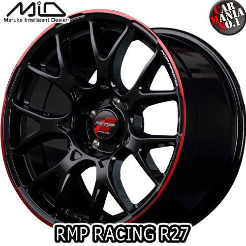 【4本セット】 MARUKA(マルカ) MID RMP RACING R27 16×5.0J +45 4/100 カラー:ブラック/リムレッドライン 16インチ 4穴 P.C.D100 ホイール新品4本 RMPレーシング