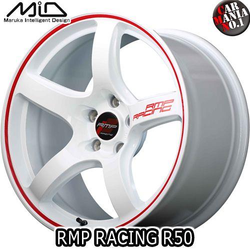 【4本セット】 MARUKA(マルカ) MID RMP RACING R50 18×8.5J +45 5/120 カラー:ホワイト/リムレッドライン 18インチ 5穴 P.C.D120 ボア径:φ73 ホイール新品4本 RMPレーシング