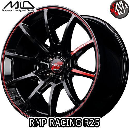 (4本セット) 18×7.5J +50 5/112 MARUKA(マルカ) MID RMP RACING R25 カラー:ブラック/リム レッドライン 18インチ 5穴 P.C.D112 ボア径:φ66.6 ホイール新品4本 鋳造1ピースホイール RMPレーシング