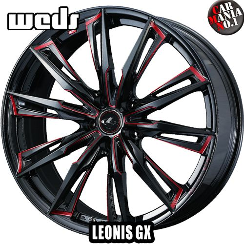 【4本セット】 Weds(ウェッズ) レオニスGX 18×7.0J +55 5/114.3 カラー:BK/SC[RED] 18インチ 5穴 P.C.D114.3 ホイール新品4本 LEONIS