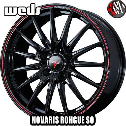 【2本セット】 Weds(ウェッズ) ノヴァリス ローグSO 15×4.5J +45 4/100 カラー:ピアノブラック/レッドライン 15インチ 4穴 P.C.D100 ホイール新品2本 NOVARIS ROHGUE