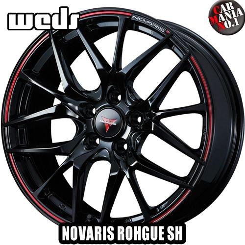 【2本セット】 Weds(ウェッズ) ノヴァリス ローグSH 17×6.5J +52 5/114.3 カラー:ピアノブラック/レッドライン 17インチ 5穴 P.C.D114.3 ホイール新品2本 NOVARIS ROHGUE