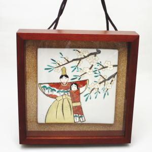 【日用品/雑貨 陶板画  ひな祭り】 壁飾り 陶板絵 雛 北風一三作