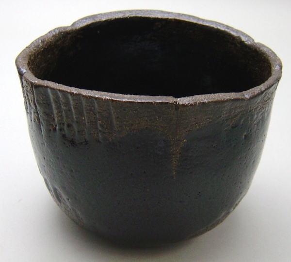 【茶器/茶道具 抹茶茶碗】 黒楽茶碗 光悦写し 雨雲 中村康平作(梅山窯) 御物袋付