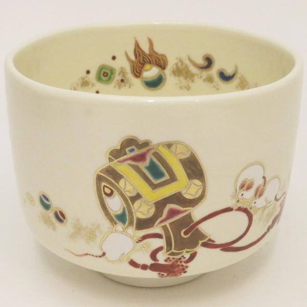 【茶器/茶道具 抹茶茶碗 干支「子」】 干支茶碗 子 小鎚に子 田中方円作 (干支子 御題望)