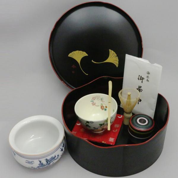 【茶器/茶道具セット 千歳盆セット】 普及品 千歳盆真塗プラスチック8点セット