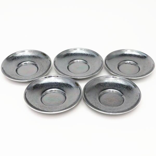【煎茶道具/煎茶器 茶托(茶たく)】 燻銀 打出 5枚セット 3.5寸