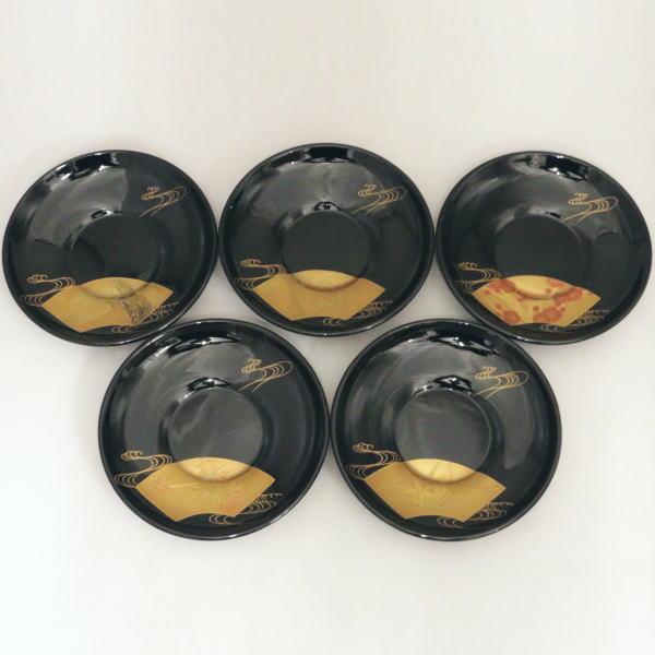 【煎茶道具/煎茶器 茶托(茶たく)】 輪島塗り 絵変り 扇面 5枚セット 【smtb-KD】