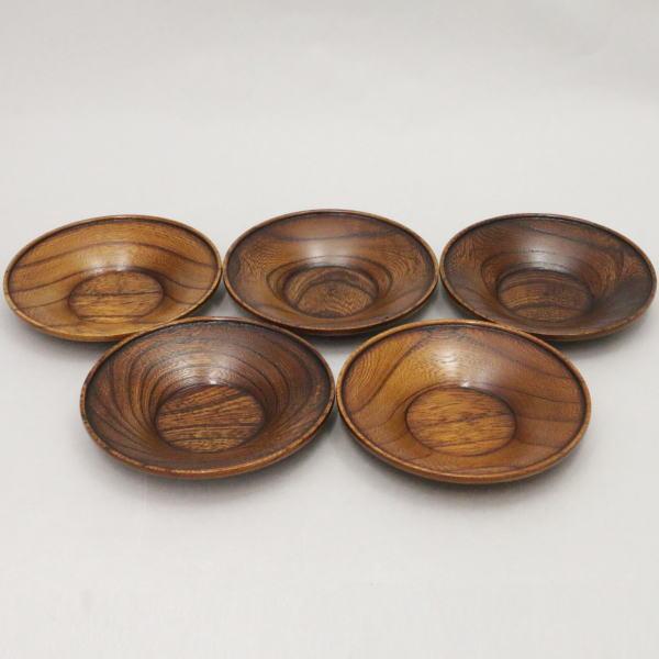 【煎茶道具/煎茶器 茶托(茶たく)】 紐付 拭き漆 5枚セット 木製(欅)
