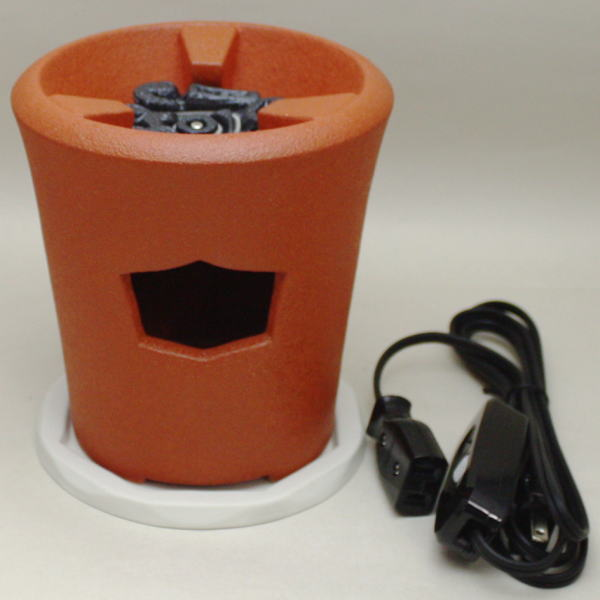 【煎茶道具 涼炉/湯沸し】(朱泥) 低涼炉 (新涼炉) 野々田式 炭型電熱器付  台付 【smtb-KD】