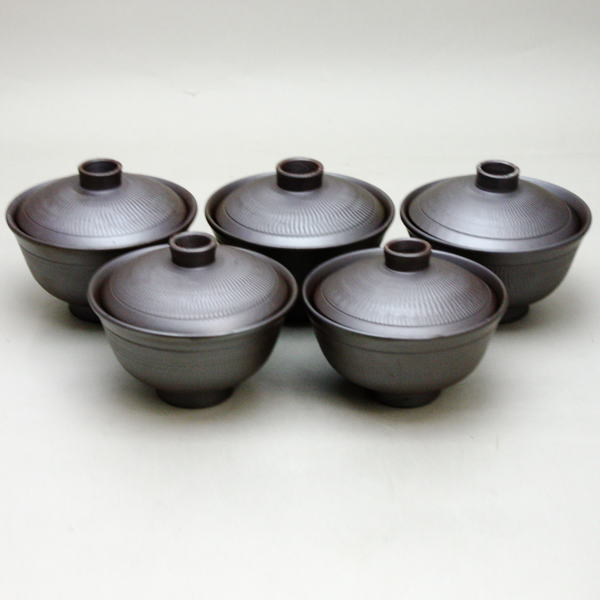 【煎茶器】 吸茶碗 (吸茶器・啜り茶器・啜茶器・すすり茶器) 萬古焼き(万古焼き) 森伊呂久作 5客セット