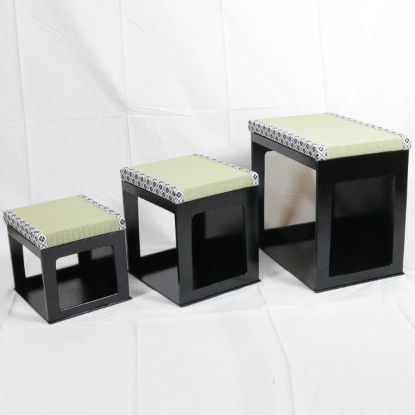 【茶器/茶道具 座椅子】 大 茶事座椅子セット 黒掻合塗り 【smtb-KD】