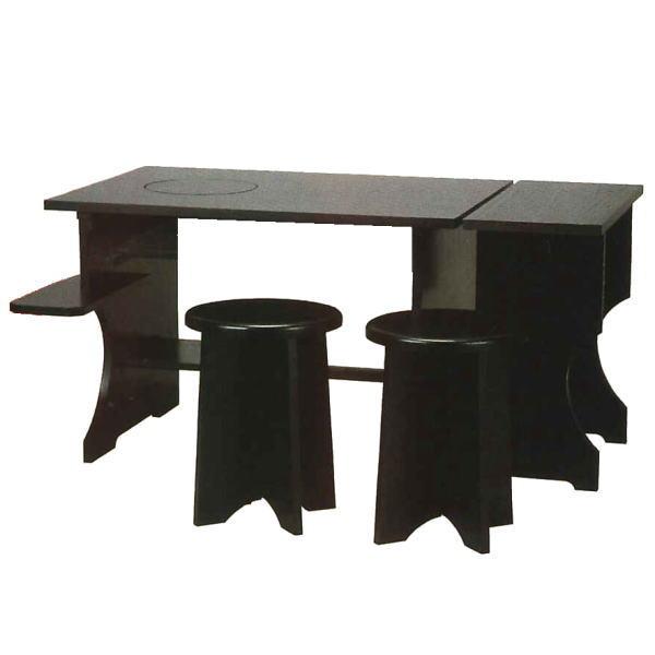 【茶器/茶道具 立礼棚】 立礼棚3点セット (点茶盤・横付・円椅2個) 組立式