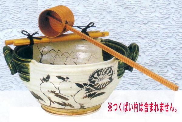【茶器/茶道具 水屋道具】 織部焼き 手水鉢 尺〇