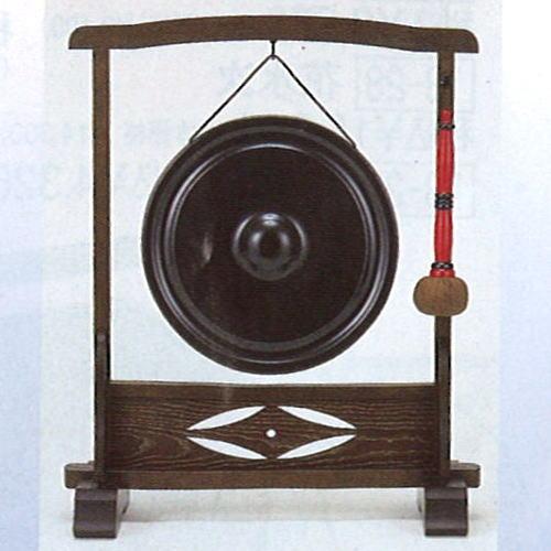【茶器/茶道具 水屋道具】 鉄銅鑼(鉄ドラ) 尺一と銅鑼枠 女桑七宝透セット バイ付
