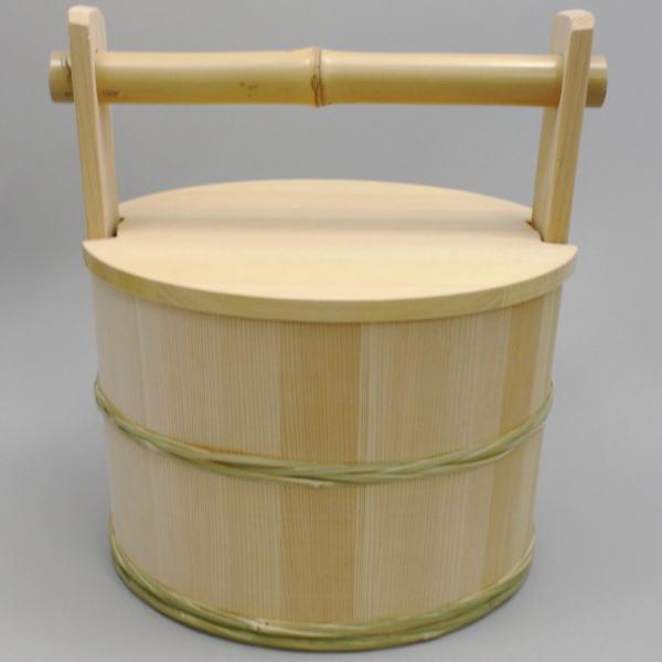 【茶器/茶道具 露地道具】(上)水張桶 今朝雄作 (取手にクサビ有)【smtb-KD】