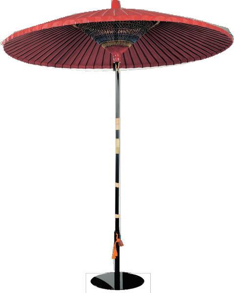 【茶道具 立礼用品】 野点傘 3尺5寸&鉄傘立てセット 室内用