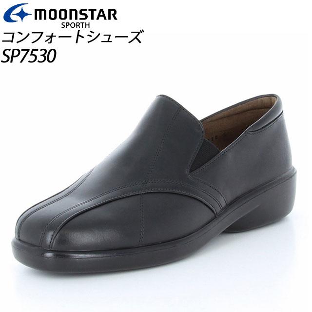 ムーンスター コンフォートシューズ レディース カジュアル 革 SP7530 ブラック MS