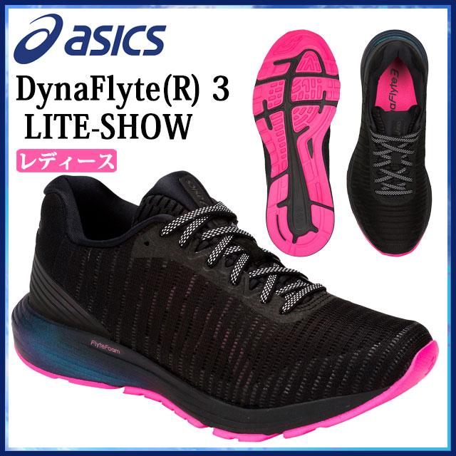 アシックス ランニングシューズ シューズ 運動靴 リフレクター DynaFlyte 3 LITE-SHOW スポーツ 運動 ジョギング マラソン ランニング ナイトラン レディース 送料無料 黒 ブラック ピンク 1012A128 asics