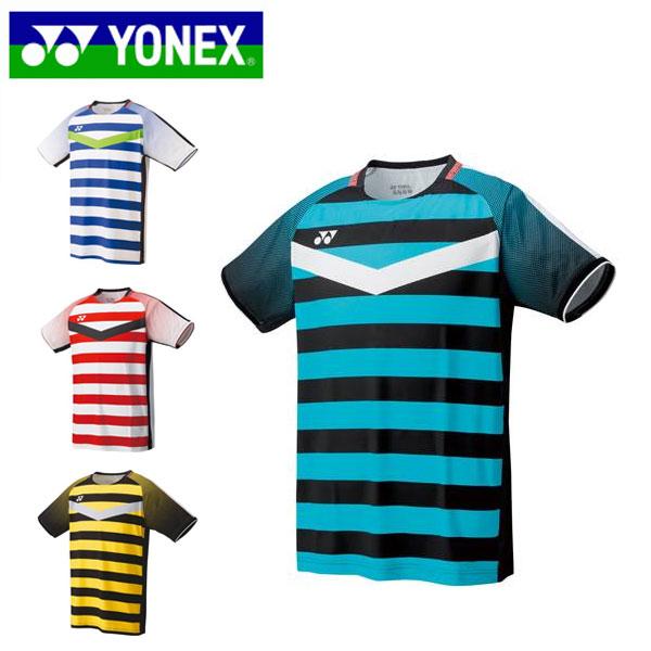 ヨネックス メンズ バドミントン ゲームシャツ 半袖 ボーダー UVカット 吸汗速乾 制電 パワースリーブ ストレッチ 日本バドミントン協会審査合格品 10274 YONEX