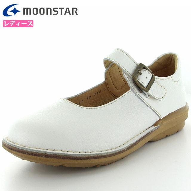 ムーンスター シューズ レディース SLワンベルト01 ホワイト 42600041 MOONSTAR 日本製 ライフスタイル カジュアルシューズ 3E 革靴 足にやさしくここち良いつくり はっ水