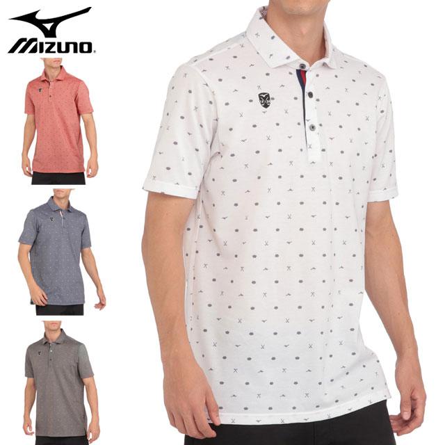 ミズノ スポーツウエア メンズ プリント 半袖シャツ 共衿 MIZUNO 52MA0006 ポロシャツ 吸汗速乾 とび柄 ゴルフ
