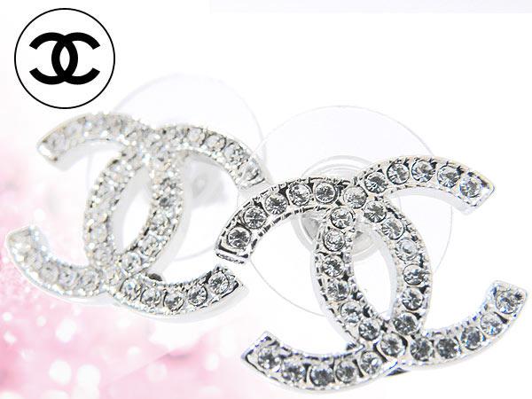 Chanel CHANEL ★ accessories (earrings) A42175 clear × silver クリアラインス stone CC earrings cheap % Women's sale