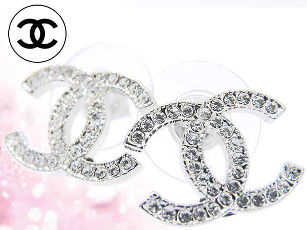 Chanel 香奈儿 ★ 配件 (耳环) A42175 清除 × 银 クリアラインス 石 CC 耳环廉价 %妇女的出售