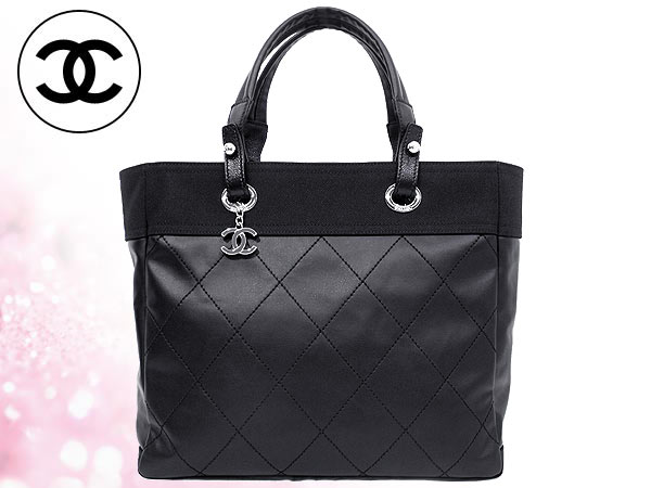 Chanel Bags Tote Bag A34209 Black パリビアリッツ Mm Coated Canvas Women S Casual For Commuting