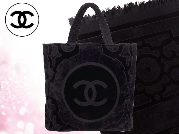 b25c17a5bcd7 Chanel CHANEL ☆ bags (tote bag) A56167 black パイルビーチバッグ & beach ...