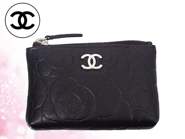 Cheap CHANEL purse Chanel ☆ (coin) A50090 black カメリアエンボス lambskin leather  key ring with coin! Women s brand sale SALE store 2014 Valentine YR ... e9277e807