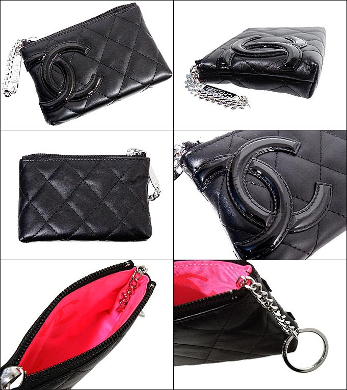 c90efc79e594 Chanel [CHANEL] [A50083 black x coin purse with key ring calf leather black  enamel Cambon line]