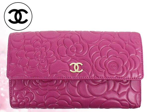 2100611612ab4b Chanel CHANEL ☆ purse (wallet) A48684 Fuchsia x champagne gold Camelia  Emboss lambskin leather ...