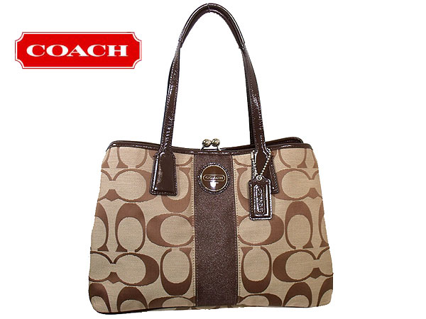 1445949f6e And writing coach COACH ☆ reviews! Bags (handbags) F13533 khaki / mahogany  signeurestripeframedcarey ...