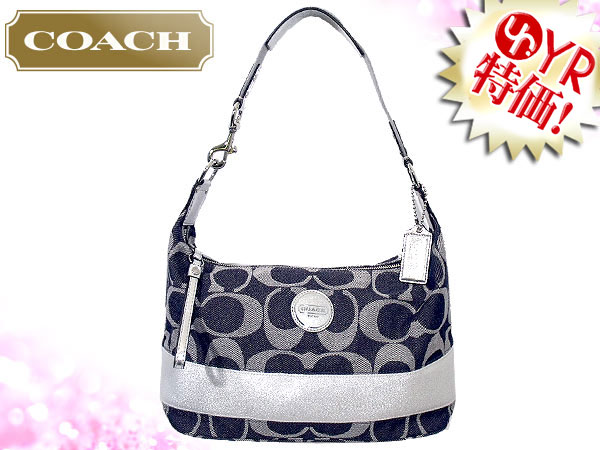 And Writing Coach Reviews Denim Bag Shoulder F17434 Silver Signature Stripe Hobo Outlet Product Las Back