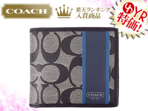 And writing coach COACH ★ reviews! Wallet (2 fold wallet) F74523 black white x storm blue heritage stripe signature coin wallet outlet product discount % Mens sale SALE store