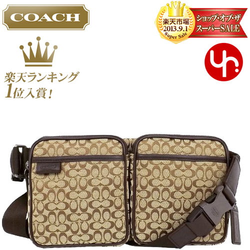 95cd2f48f6c72e And writing coach COACH ☆ reviews! Bags (bags) F70849 カーキブラウン signature  Jacquard hip ...