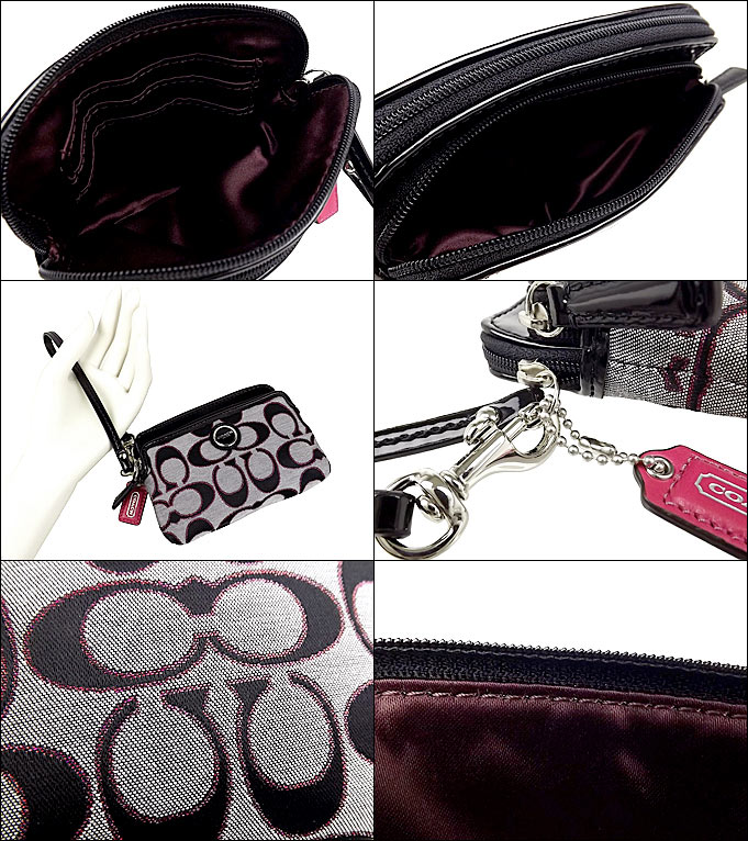 coach poppy bags outlet iuc1  Coach COACH  bag pouch F47899 Moonlight x/pink Scarlet poppy signature  metallic