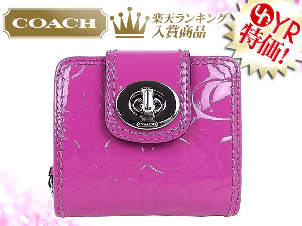 2cebdb1d4e29d And writing coach COACH ☆ reviews! Wallets (2 fold wallet) F49389 raspberry  turnlock embossed patent slim medium wallet outlet product discount %  Women s ...