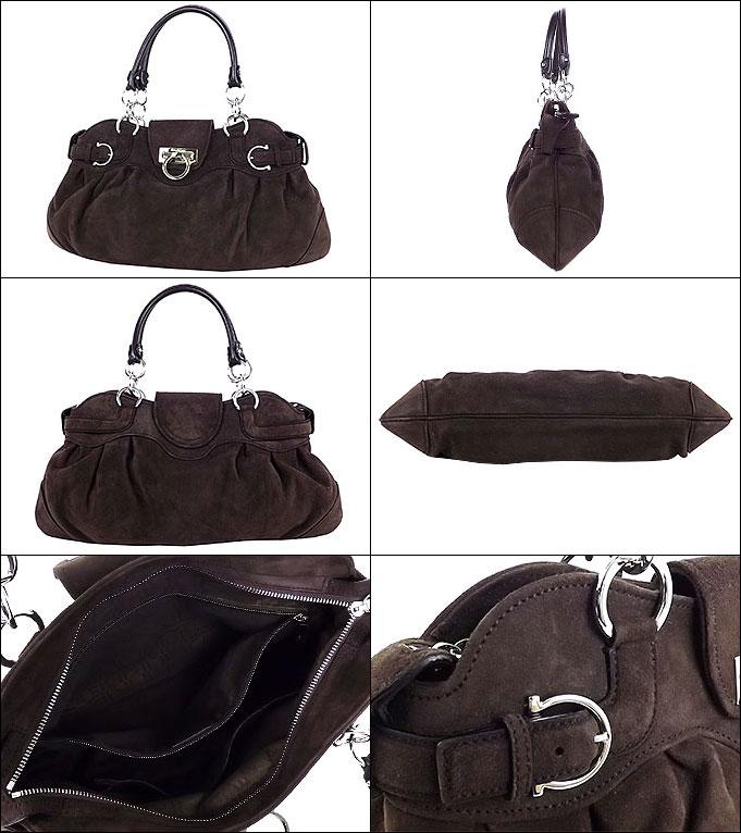 8367d7584979  Salvatore Ferragamo  Salvatore Ferragamo bag ( handbag )  Brown x 21  silver 8402 gancini buckle suede handbags