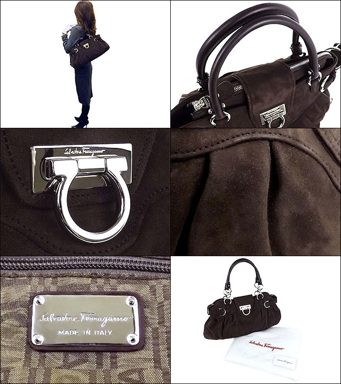 fbba3fe47c7d ...  Brown x 21 silver 8402 gancini buckle suede handbags .   Product  images are taken by a digital camera for the actual color and slightly  different.