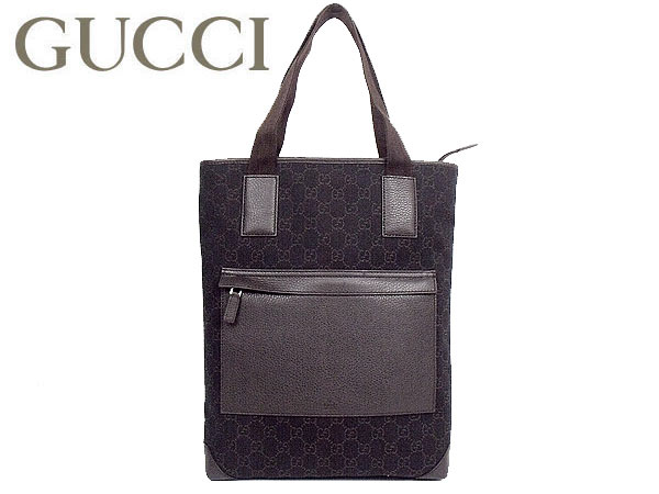Gucci By Bags Tote 180450 F5dtn1057 Dark Brown Denim Gg Canvas Leather Bag Vertical Outlet Goods Men S Women Casual