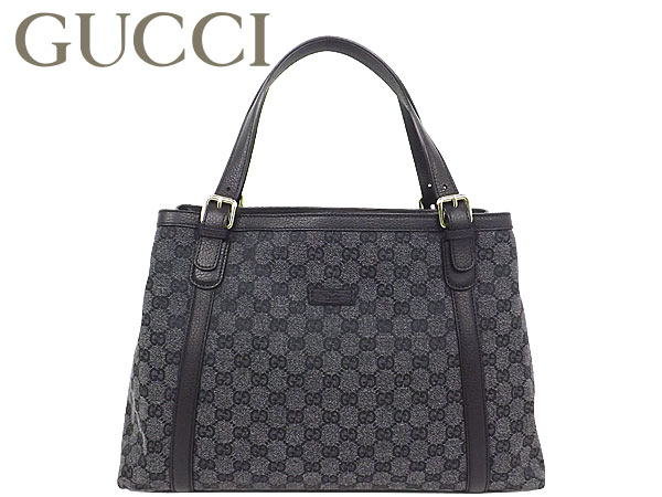 Gucci By Bags Tote Bag 282531 Ffprg 8881 Grey Black Gg Canvas X Leather Outlet Products Las Back