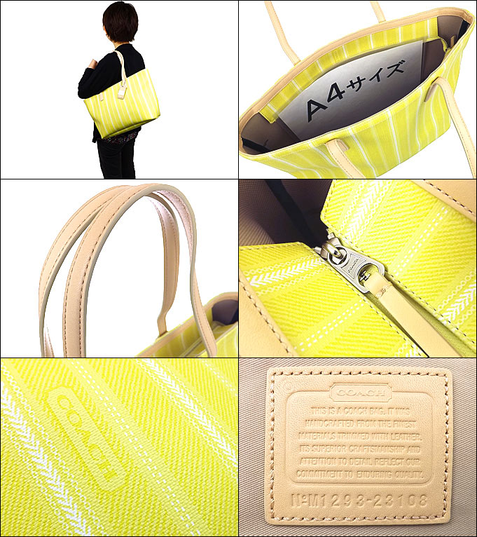 And writing coach COACH ★ reviews! Bags (tote bag) F23108 yellow レガシーウィーク end ticking stripe PVC medium Tote outlet product discount % Women's bag for commuting