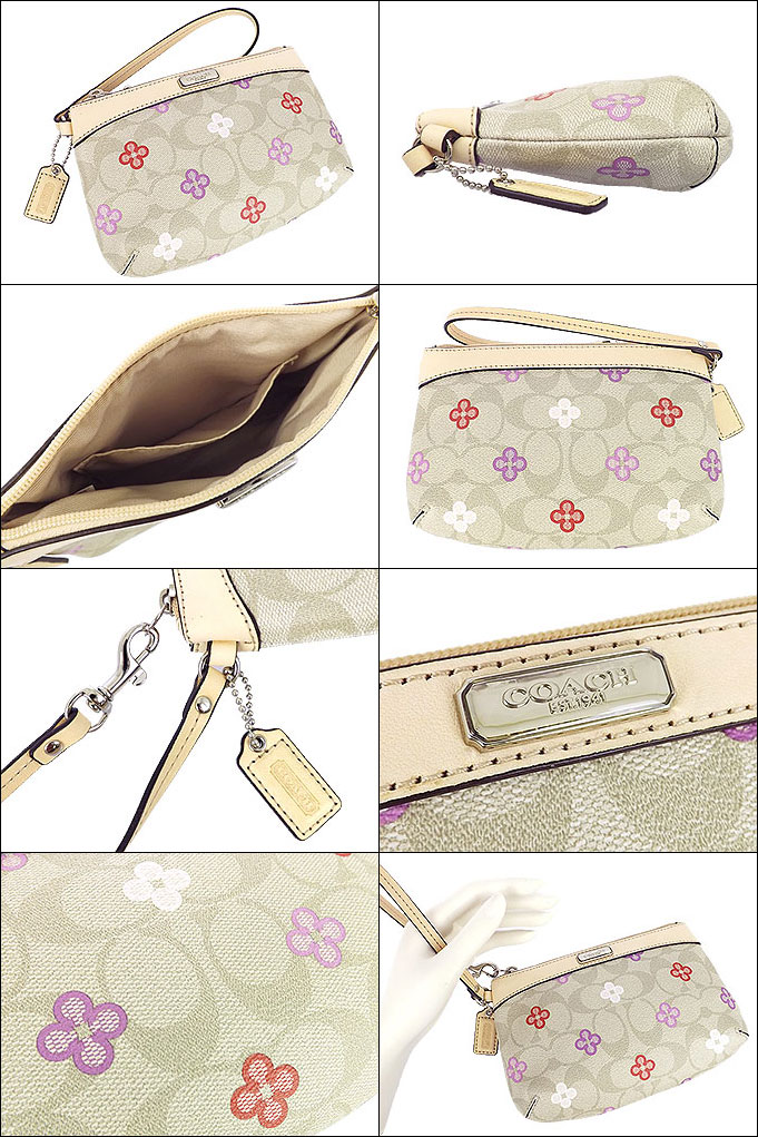 Coach COACH ★ bag (pouch) F49348 light khaki multi Peyton signature clover medium wristlet outlet product discount % Women's sale SALE store